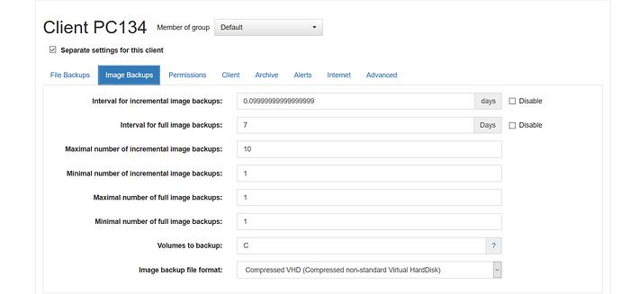 PC134-image backup settings